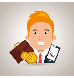Man with portfolio and coins isolated icon design vector