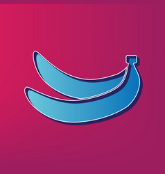 Banana simple sign blue 3d printed icon vector