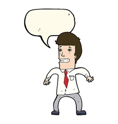 Cartoon nervous businessman with speech bubble vector