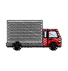 color crayon stripe cartoon transport truck with vector image