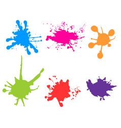 color paint splatter paint splashes set vector image