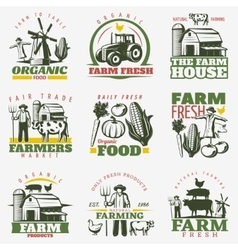 Colorful Farm Emblems Set vector image vector image