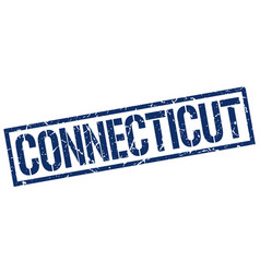 Connecticut blue square stamp vector