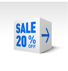 Cube banner template twenty percent off discount vector