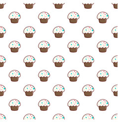 Cupcake garnished with sprinkles pattern vector
