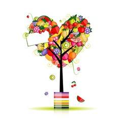 Fruit tree in shape of heart for your design vector image vector image