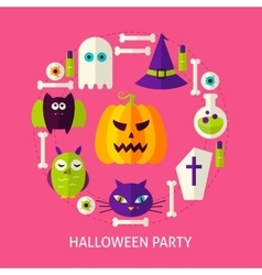 Halloween party flat concept vector