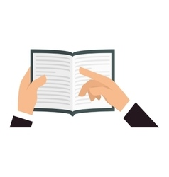 Hands holding book icon image vector