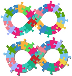 Infinity 8 shape puzzle pieces isolated shadow vector