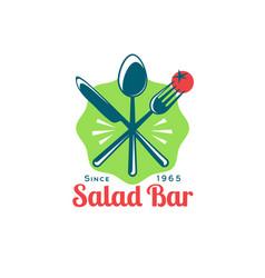 Logo salad bar vegeterian snack emblem vector