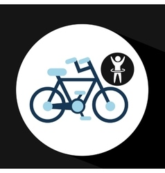 Man hand up silhouette with bycicle icon design vector
