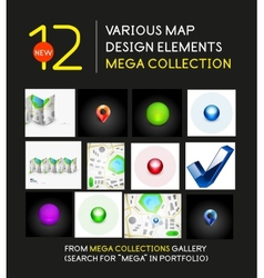 Mega collection of map design elements vector image vector image