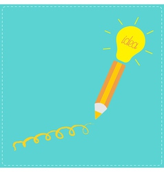 Pencil and shining light bulb Business idea concep vector image vector image