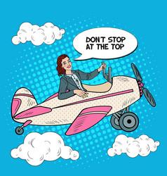 Pop art successful woman riding vintage airplane vector