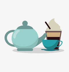 Porcelain tea kettle with cup of coffee and glass vector