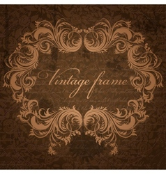 Retro background with antique floral frame vector image vector image