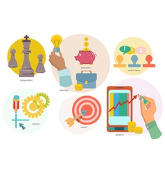 Set of flat design concept icons of creation vector image