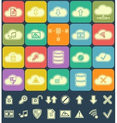 Silhouette Cloud Storage Data analysis network vector image vector image