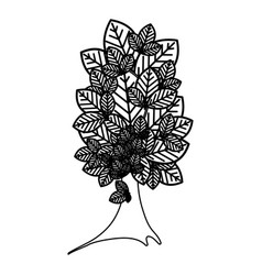 Sketch silhouette tree plant with several leaves vector