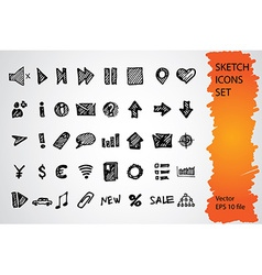 Sketched icon set vector