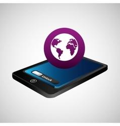 Smartphone blue screen unlock globe global vector