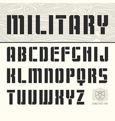 Stencil plate sans serif font vector
