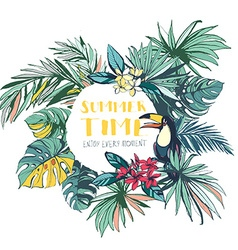 Tropical floral summer beach party invitation with vector
