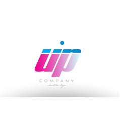 up u p alphabet letter combination pink blue bold vector image