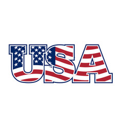 usa lettering flag of america and letters vector image vector image