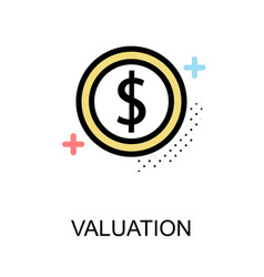 valuation icon with coin on white background vector image vector image