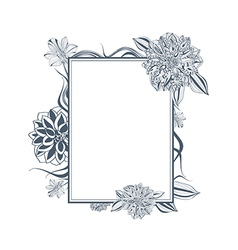 Vintage Lily and Dahlia Flower Frame vector image vector image