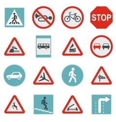 Road sign set icons flat style vector