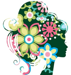 Beautiful woman silhouette with a flowers vector