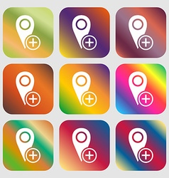 Map pointer icon sign Nine buttons with bright vector image
