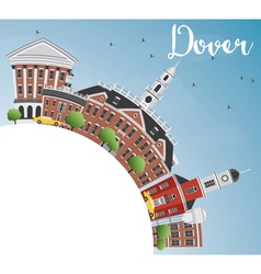 Dover skyline with color buildings blue sky vector