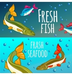 Seafood restaurant seafood background fresh fish vector