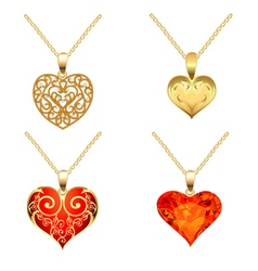 Set of pendants with precious stones vector