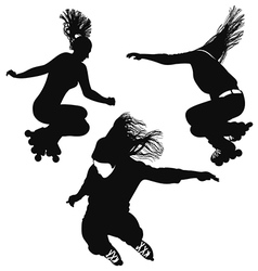 Silhouette of a young woman rollerblading vector
