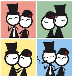 Couple comic icon vector