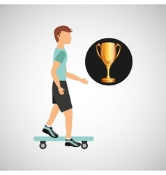 Skater guy trohpy sport design vector