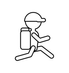 Outline silhouette man hiking cap packback vector