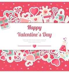 Valentines day banner with flat icons stickers on vector