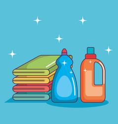 Laundry pile towel bottle detergents clean vector