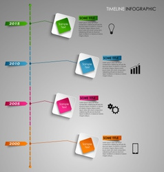 Time line info graphic colored square light vector