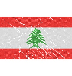 Flag of lebanon with old texture vector