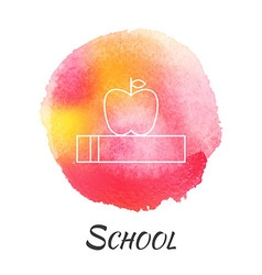 School knowledge book with apple watercolor vector