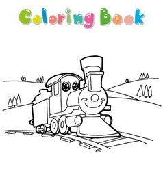 Coloring book train vector