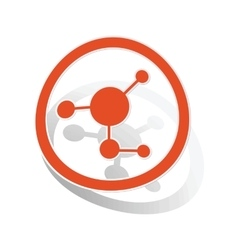 Molecule sign sticker orange vector