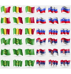 Mali slovenia mauritania serbia set of 36 flags of vector