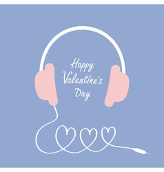 Happy valentines day love card headphones and cord vector